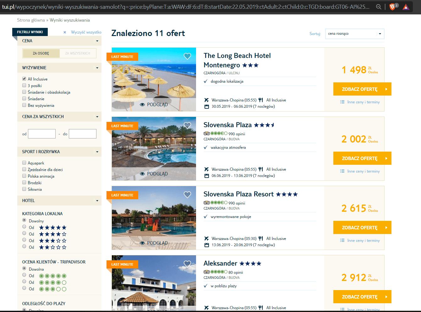 """Ceny wczasów z kategorii """"all inclusive"""" w Czarnogórze"""