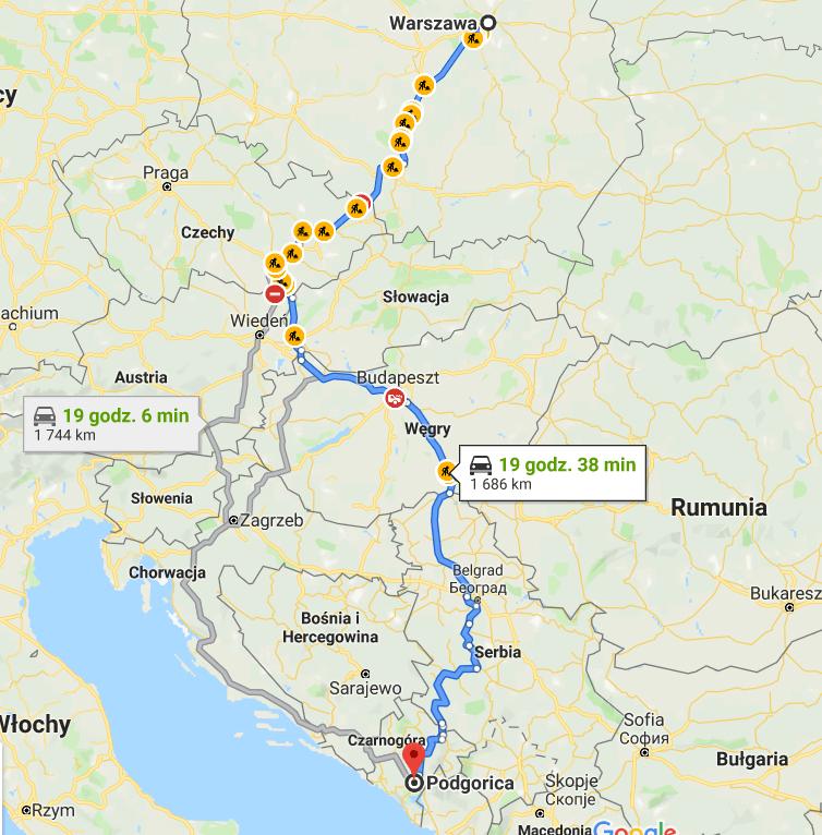 Trasa do Czarnogóry samochodem