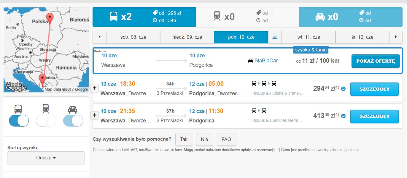 Podróżować autobusem do Czarnogóry