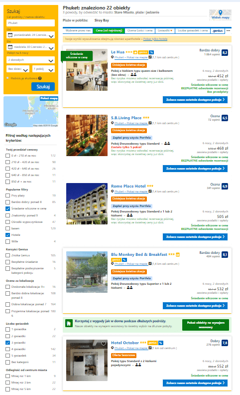 Koszt pobytu trwającego 7 nocy w hotelach 3-gwiazdkowych na wyspie Phuket dla dwóch dorosłych